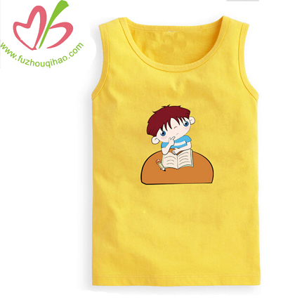 Yellow Print Cartoon Kids Summer Vest