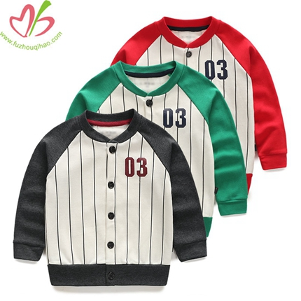 Red, Green,Grey Boys Baseball Coat