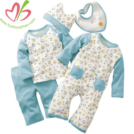 5pcs Baby Cotton Baby Romper Set Clothing