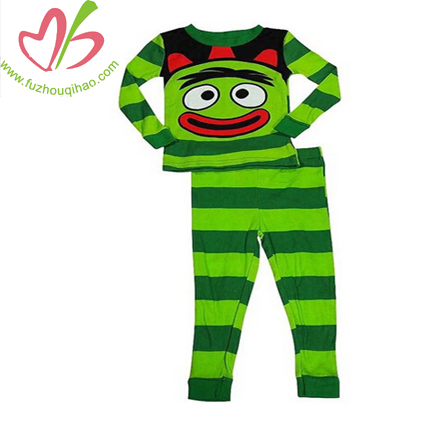 Cartoon Print Stripe Children Sleepwear Children Kids colour