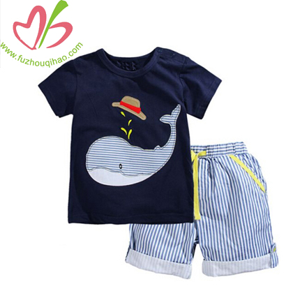 Children Clothing Sets Animal Print Summer Cotton Short Sleeve Stripe