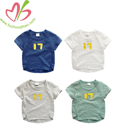Customized Baby Boys clothing Applique Printed T-Shirt Soft Cotton
