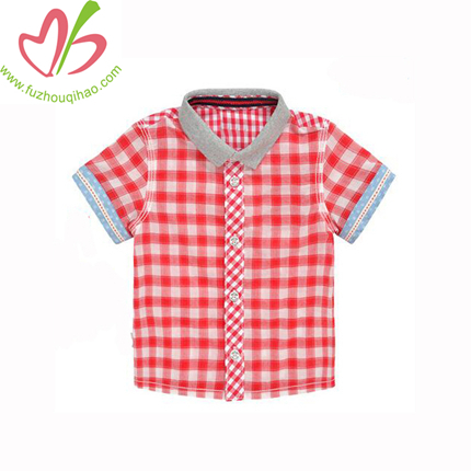 100% Cotton Boy Shirt, Students Checks Shirt, Summer Uniform Boy Shirt