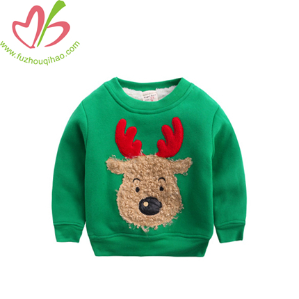 Winter Boy Pullover For Christmas, Rodolph Embroidery Boy Hoodie
