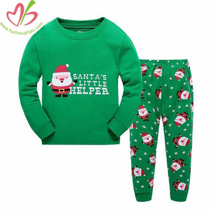 Christmas Green Boy's Snowman Pajamas Set