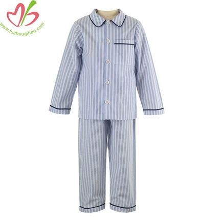 Blue Stripe Boy's Pajamas Set