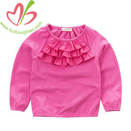 Baby Girl's Fuchsia Color Long Sleeve Ruffle T Shirt