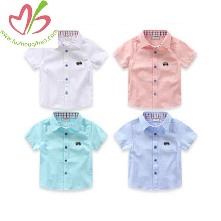 Boy's Turndown Collar Short Sleeve Shirt