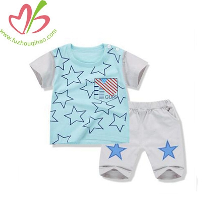 The New Children's Summer Cotton Short Sleeve Suit Boy Capris