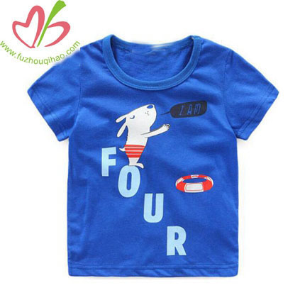 Solid Color Sapphire Cartoon Tabbit Design Children's T-shirt