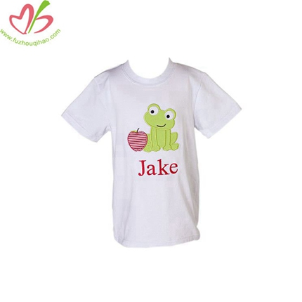 Applique White Boy's Tees