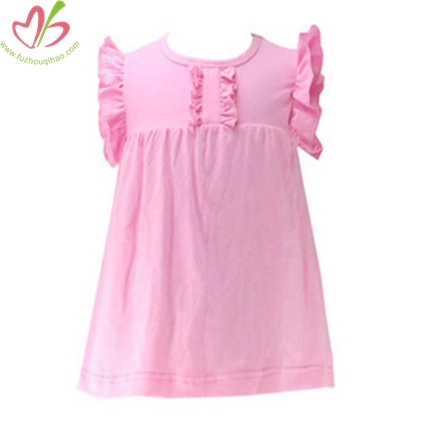 Solid Color Flutter Sleeves Kids Tunic
