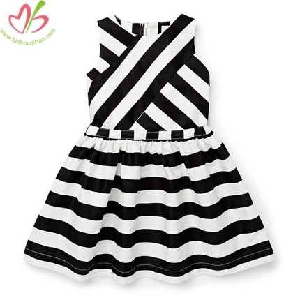 Zipper Black and White Stripe Kids Dress