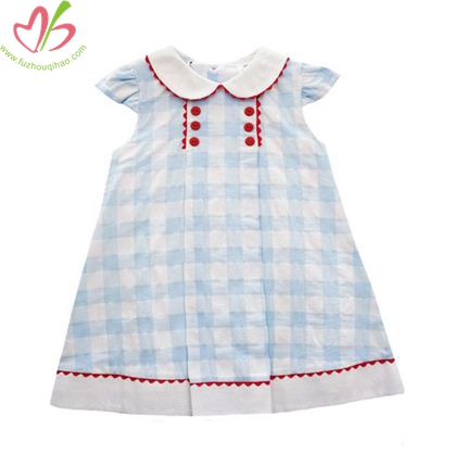 Seersucker Kids Dress with Zig Zag