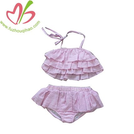 Pink girl swimsuits 2pcs sets